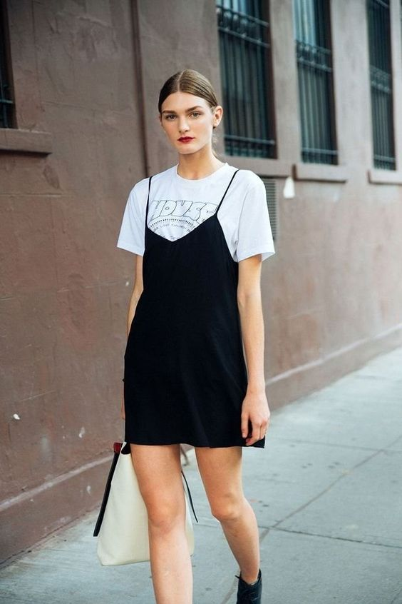 black satin dress layered