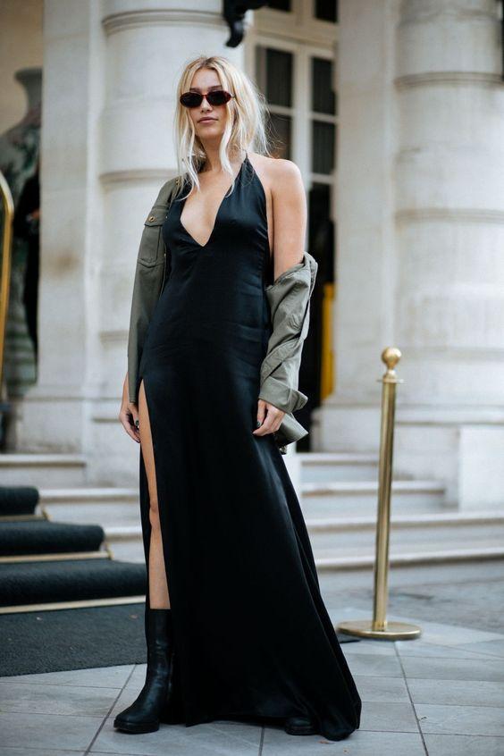 black satin dress retro
