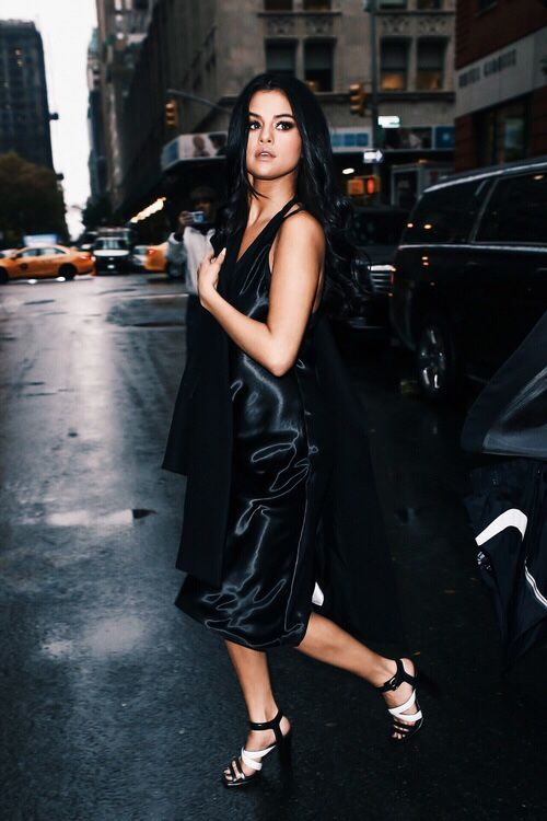 black satin dress superstar