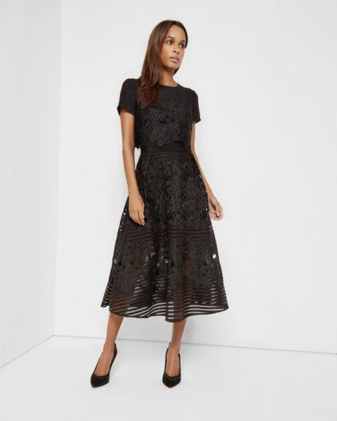 black semi sheer floral lace midi dress
