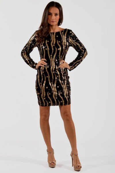 black sequin sheath dress gold random stripes