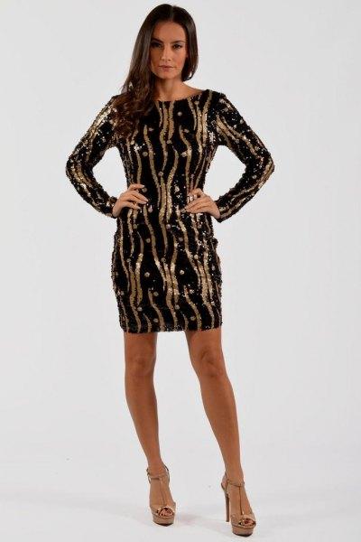black sequin sheath dress gold random stripes