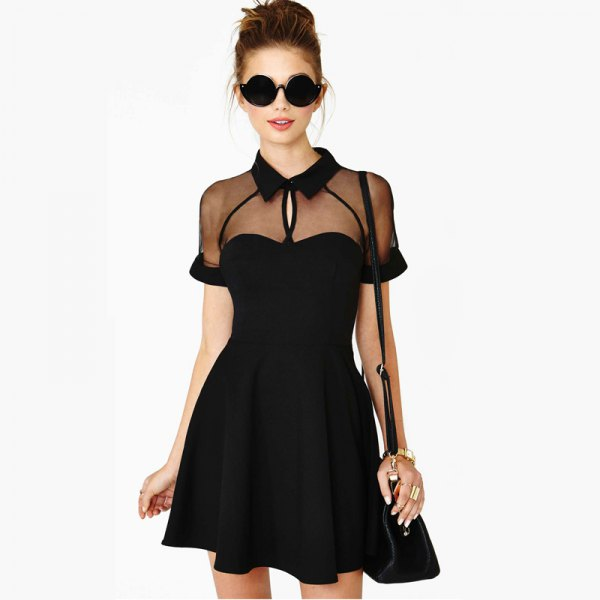 black sheer collar skater dress