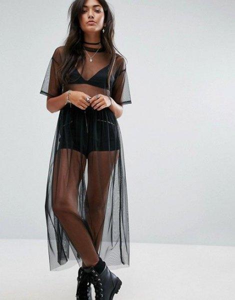 black sheer maxi mesh dress over bra top shorts