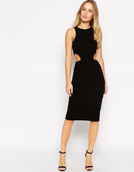 black side cutout sheath knee length dress