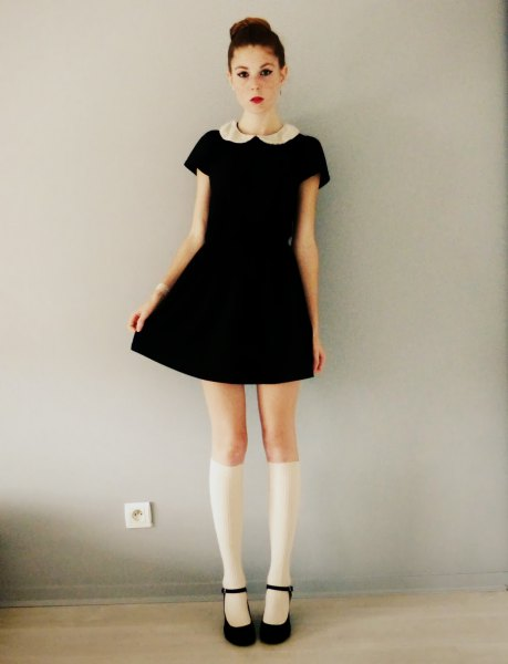 black skater dress white knee high socks