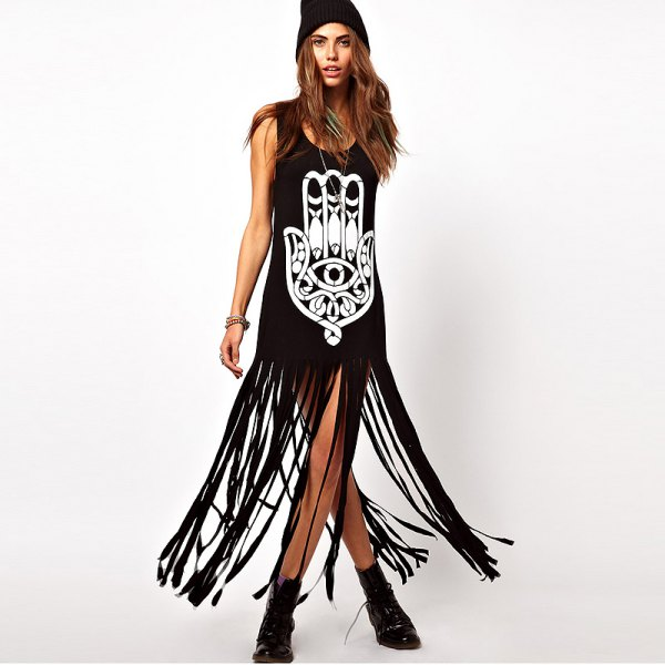 black sleeveless printed shirt dress long fringes