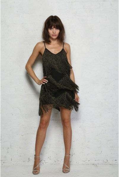black slip beaded fringe dress