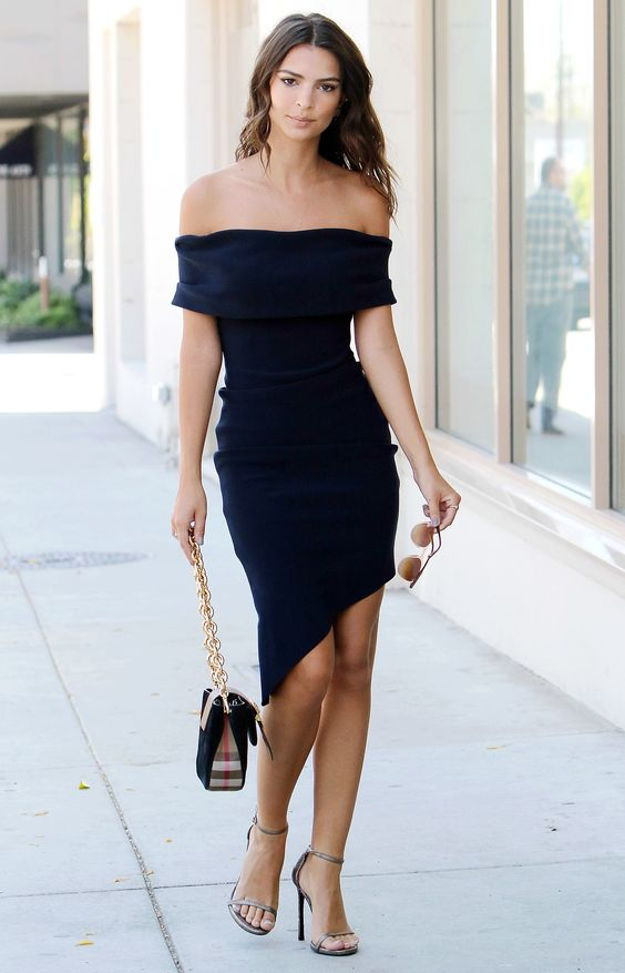 black strapless dress casual asymmetric