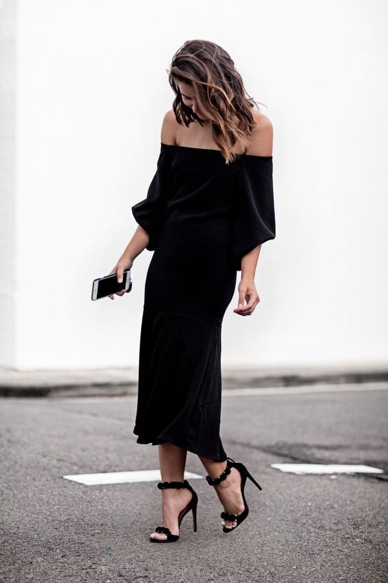 black strapless dress casual loose