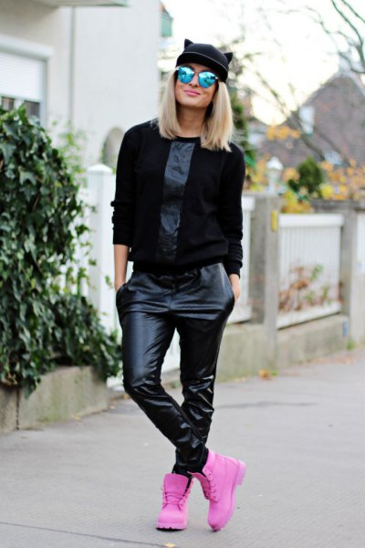 black sweater leather leggings