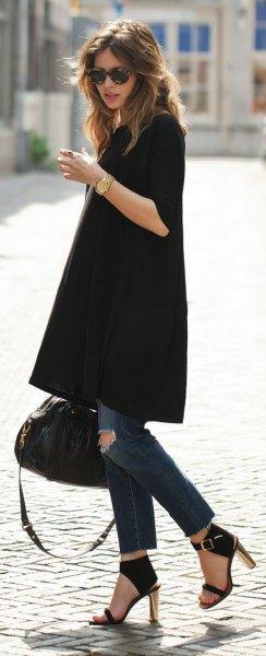 black tunic dress skinny jeans heels