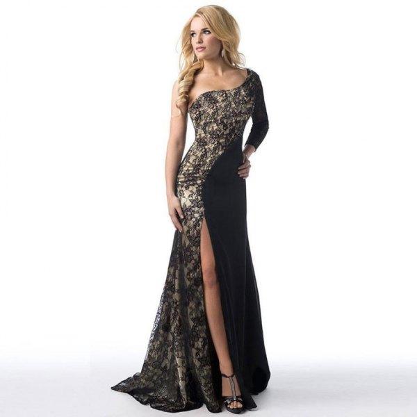 black two toned asymmetric floor length dress