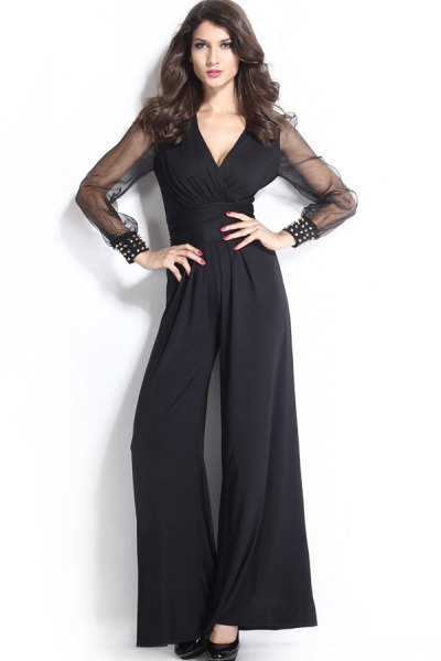 black wide leg jumpsuit mesh sleeves