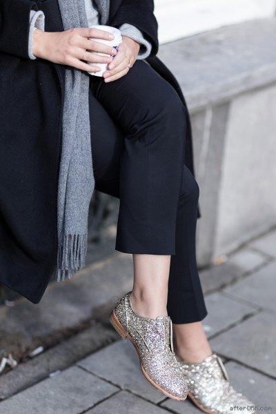 black wool coat grey knit sweater
