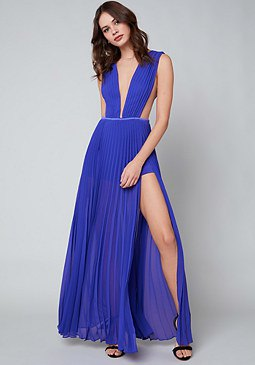 blue deep v neck double slit dress
