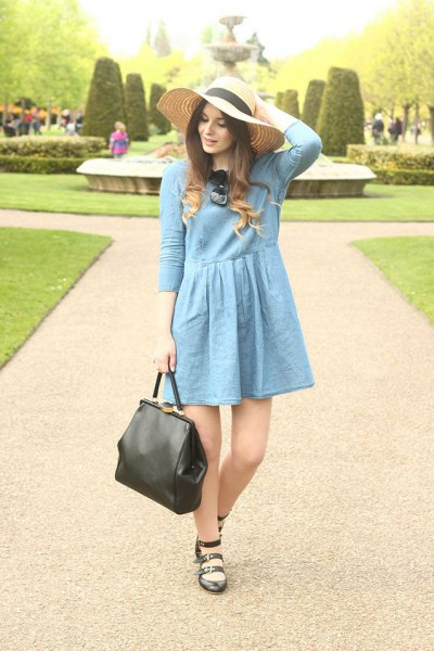 blue flare mini dress straw floppy hat
