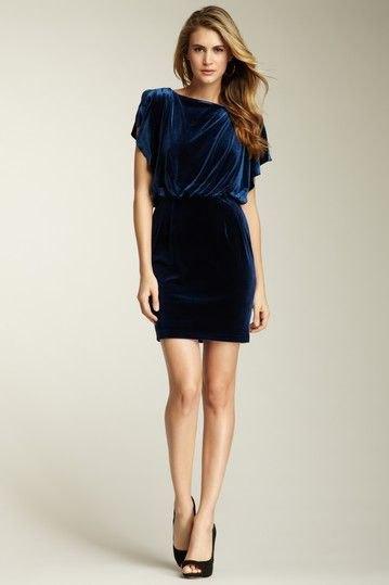 blue flutter sleeve gathered waist dress