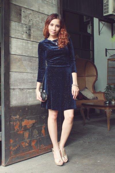 blue velvet sheath dress nude heeled sandals