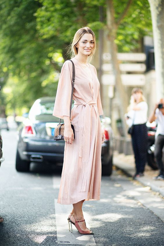 blush pink dress long