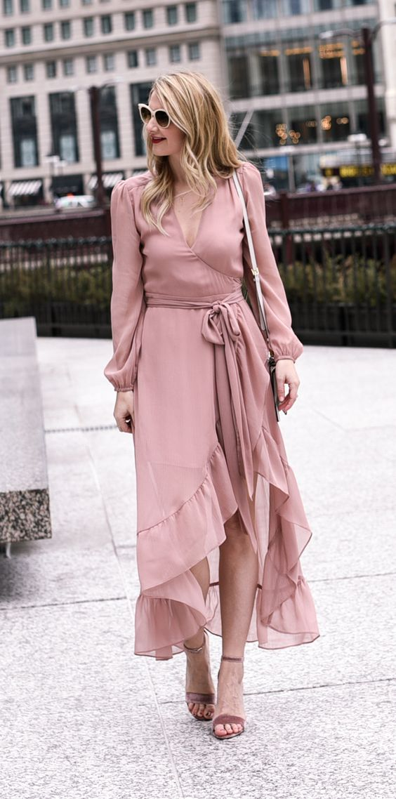 blush pink dress ruffle hem