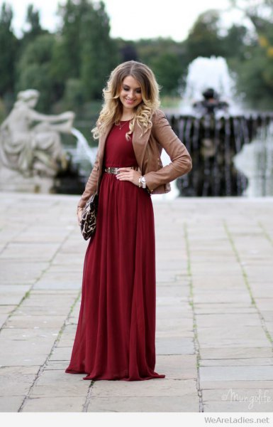 burgundy belted long dress brown blazer