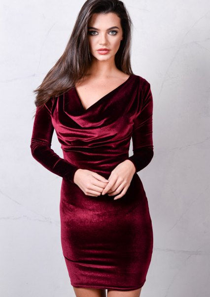 burgundy cowl neck velvet bodycon dress