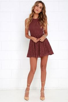 burgundy lace mini dress strappy heels