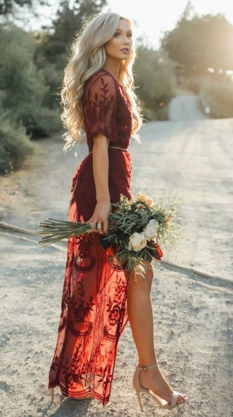 burgundy lace semi sheer long dress