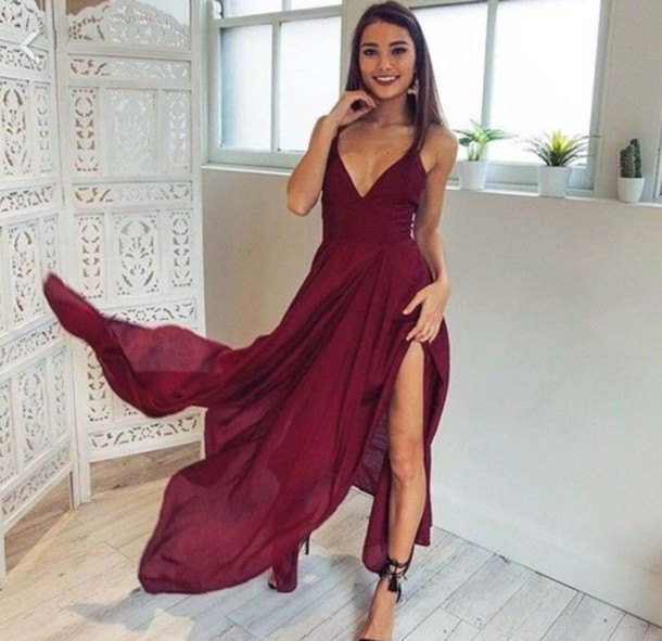 burgundy long flowy split dress