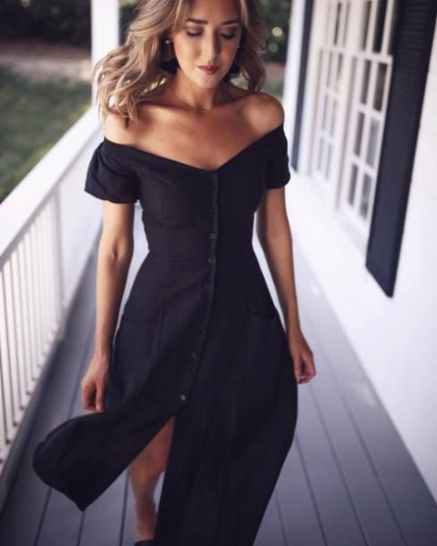 button front off shoulder dress