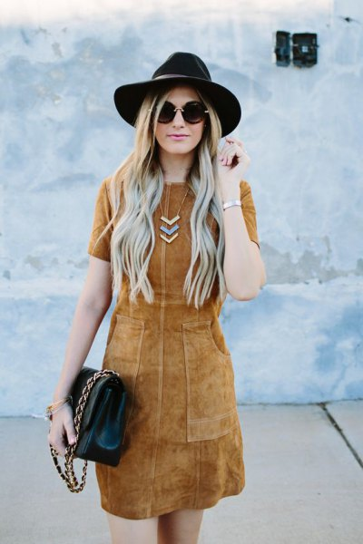 camel sheath dress black felt hat