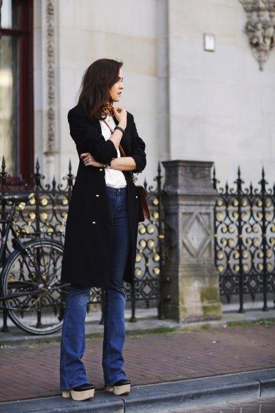 choker scarf black longline cardigan flared jeans