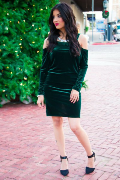 cold shoulder green velvet bodycon dress