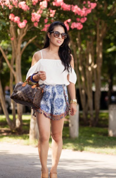 cold shoulder white blouse tribal tassel shorts
