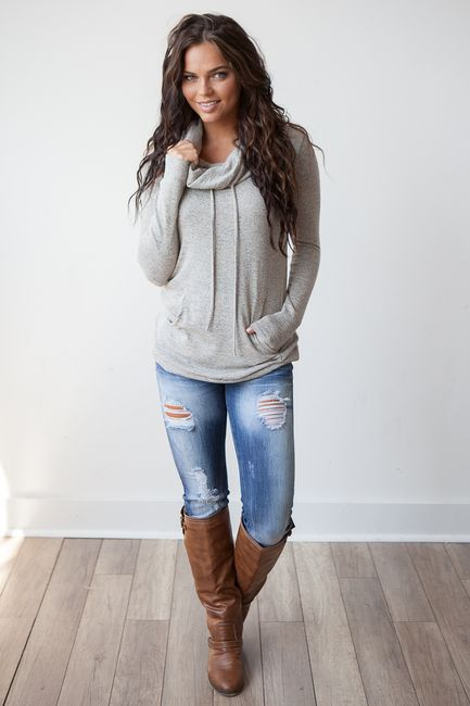 cowl neck sweatshirt grey brown