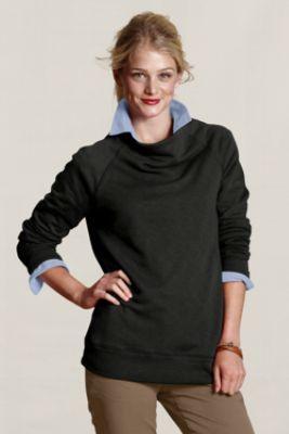 cowl neck sweatshirt layer button down