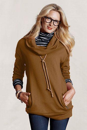 cowl neck sweatshirt layer