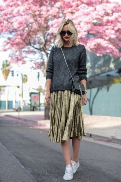 dark grey knit sweater gold pleated midi skirt