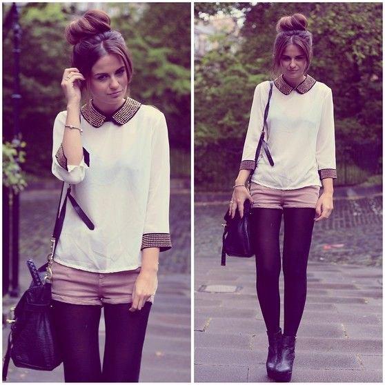 dark purple leggings white blouse grey shorts