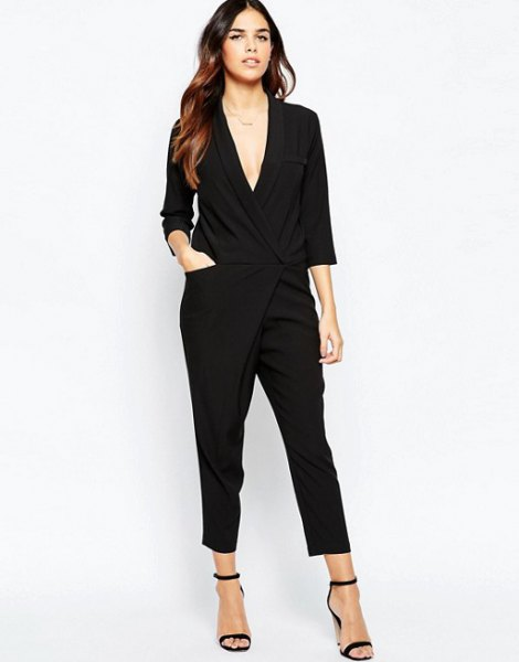 deep v neck jumpsuit black open toe heels