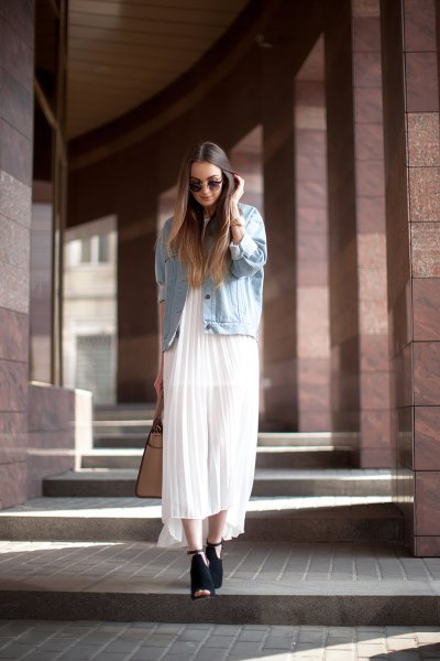 denim jacket white pleated chiffon dress