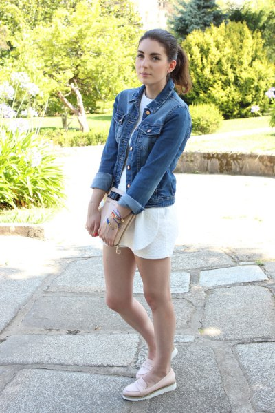 denim jacket white shorts