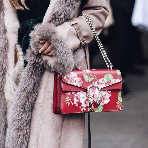 floral clutch bag faux fur coat