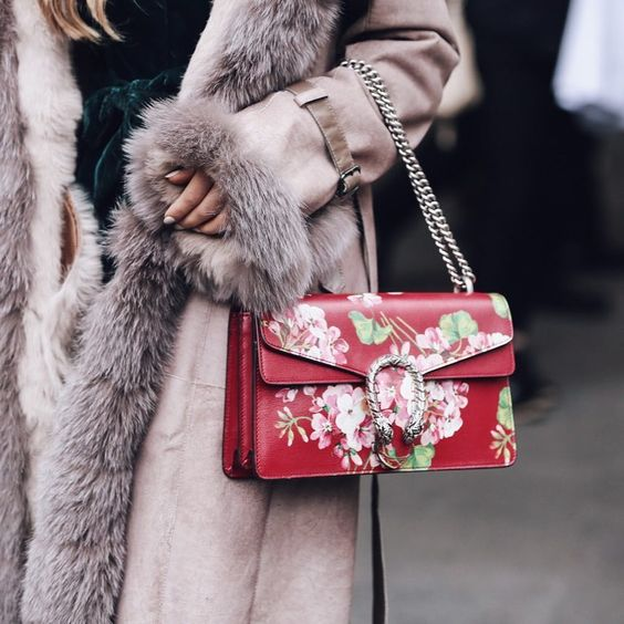 floral clutch bag faux fur coat