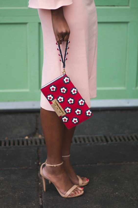 floral clutch bag red