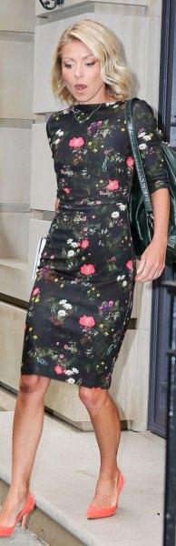 floral sheath knee length dress