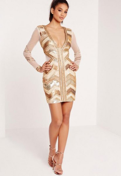 gold and white deep v neck dress chiffon sleeves