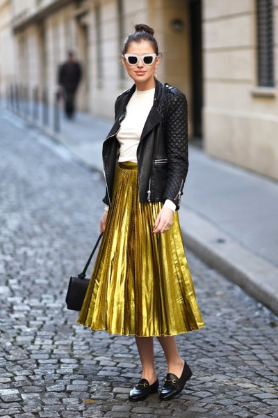 gold skirt black bomber jacket