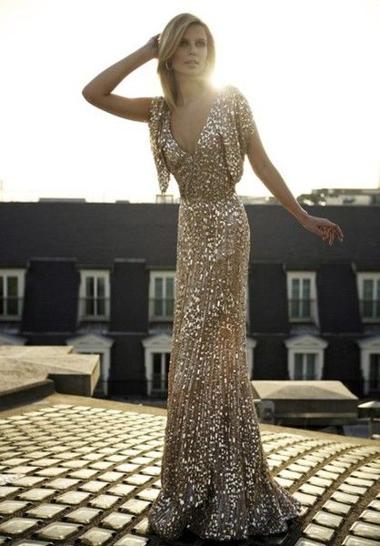 gold sparkly dress long